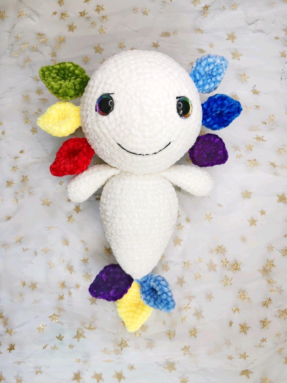 Аксолотль игрушка, рыбка радуга, разноцветная аксолотль, Мягкие игрушки, Москва,  Фото №1