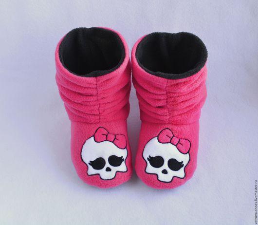 """Обувь ручной работы. Ярмарка Мастеров - ручная работа. Купить Домашние сапожки """"Monster High"""". Handmade. Фуксия, домашние тапочки"""