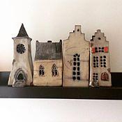 """Для дома и интерьера ручной работы. Ярмарка Мастеров - ручная работа домики-подсвечники """"Фенстербанкстад"""" (городок на подоконнике). Handmade."""