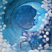 Картины и панно ручной работы. Ярмарка Мастеров - ручная работа Картина  Снег  идет    месяц     зима месяц  звезды. Handmade.