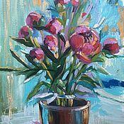 Картины и панно handmade. Livemaster - original item Painting Small Peonies Bouquet of pink peonies. Handmade.