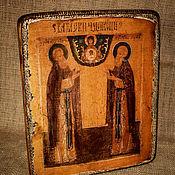 Картины и панно handmade. Livemaster - original item Icon of Sergius and Herman of Valaam miracle workers. Handmade.