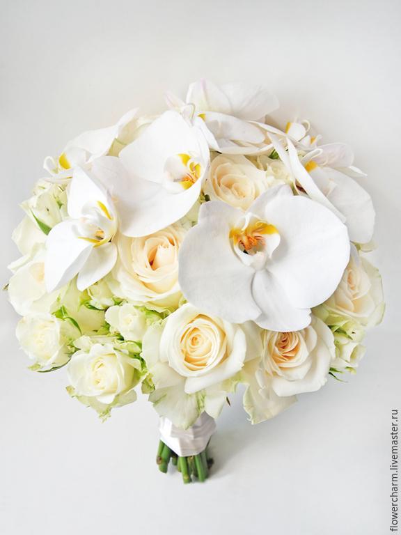 Свадебный букет из орхидеи и роз