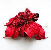 Украшения handmade. Livemaster - original item Brooch needle flower leather