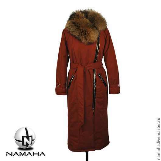 Верхняя одежда ручной работы. Ярмарка Мастеров - ручная работа. Купить Пуховик зимний с енотом,пальто зимнее,длинный пуховик. Handmade.