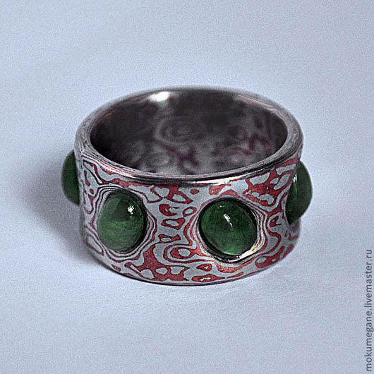 Кольца ручной работы. Ярмарка Мастеров - ручная работа. Купить Перстень мокуме-гане с изумрудами. Handmade. Кольцо, мокуме гане