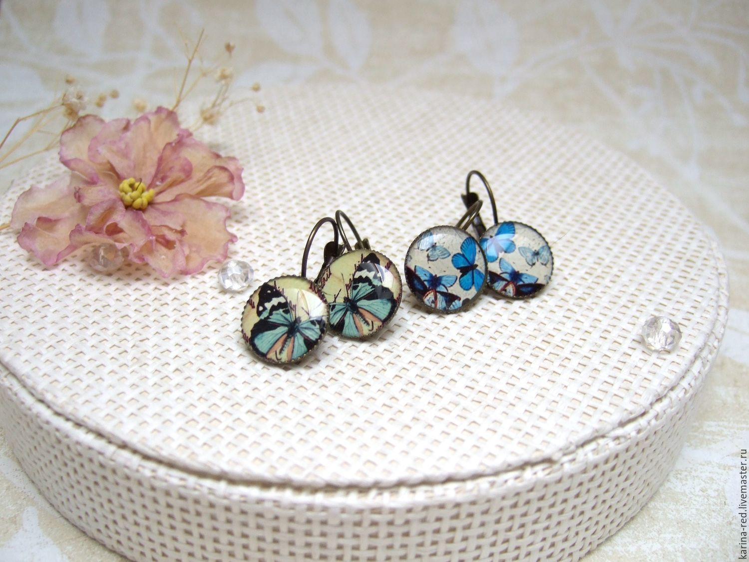 Vintage Earrings blue and Blue Butterflies on a selection of Boho Jewelry Resin, Earrings, Taganrog,  Фото №1