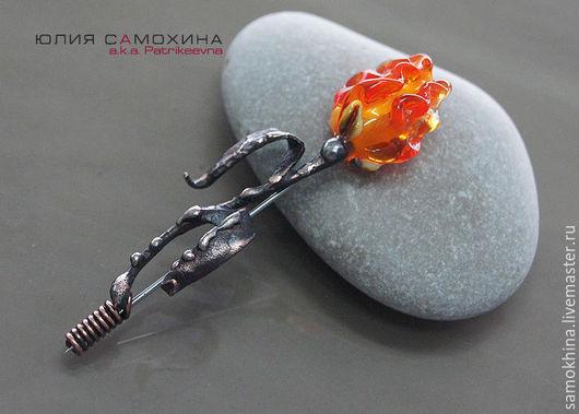"""Броши ручной работы. Ярмарка Мастеров - ручная работа. Купить Брошь """"Тюльпан""""  лэмпворк & медь. Handmade. Оранжевый, огненный"""
