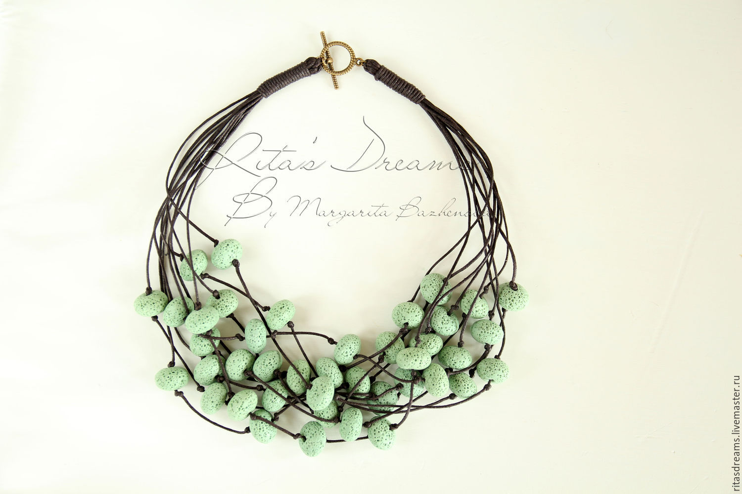 Beads of volcanic lava mint green and cotton cord colour dark chocolate are multi-row beads Mint and chocolate.