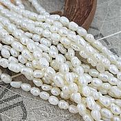 Материалы для творчества handmade. Livemaster - original item Thread Pearls natural rice 3.5-4 x 3.5-4.5 mm AA white (3786). Handmade.