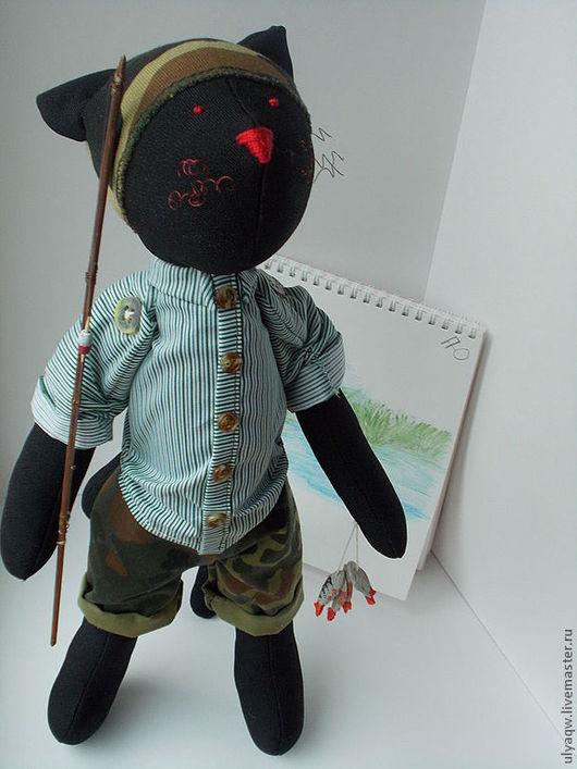 Куклы Тильды ручной работы. Ярмарка Мастеров - ручная работа. Купить Кот-рыбак. Handmade. Черный, рыбаку, сорочечная ткань