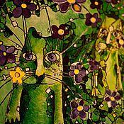 Картины и панно ручной работы. Ярмарка Мастеров - ручная работа Три Кота в Фиалковом Лесу. Handmade.