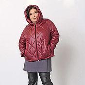 Одежда handmade. Livemaster - original item Quilted short jacket Burgundy with a hood. Art. 1388. Handmade.