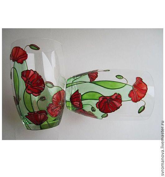 """Бокалы, стаканы ручной работы. Ярмарка Мастеров - ручная работа. Купить Бокалы """"Маки"""". Handmade. Ярко-красный, Роспись по стеклу"""