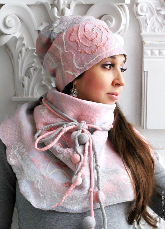 Комплекты аксессуаров ручной работы. Ярмарка Мастеров - ручная работа. Купить Комплект шапка и шарф-бактус Зимняя нежность. Handmade.