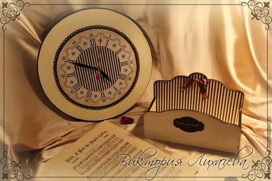 """Часы для дома ручной работы. Ярмарка Мастеров - ручная работа. Купить Набор: подставка для бумаг и часы """"Delicat style"""". Handmade."""