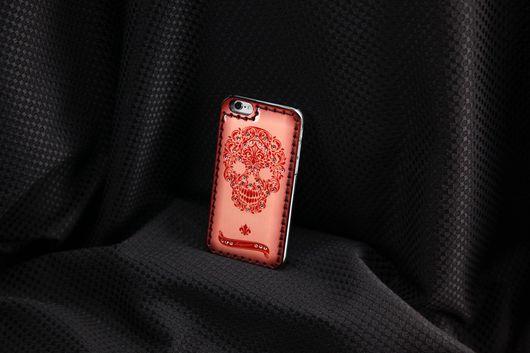 Для телефонов ручной работы. Ярмарка Мастеров - ручная работа. Купить Чехол для iPhone 7/7 plus- 6/6s/ 6plus  Red FLorid Skull. Handmade.