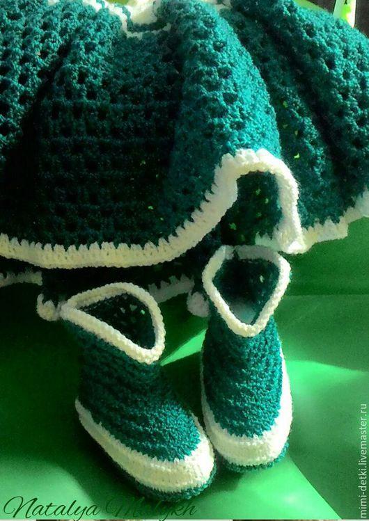 Одежда ручной работы. Ярмарка Мастеров - ручная работа. Купить Сарафан и пинетки сапожки,комплект для новорожденной. Handmade. Комбинированный, сарафан