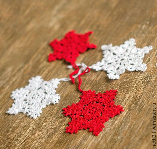 Новый год 2017 ручной работы. Ярмарка Мастеров - ручная работа. Купить Елочные украшения - снежинки. Handmade. Белый, подарок на новый год