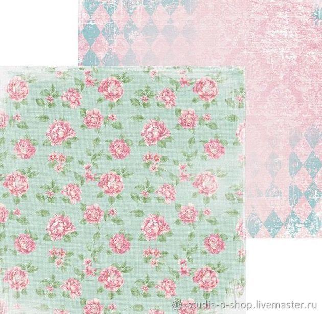 Бумага «Розовые бутоны» ,15,5 x 15,5 см, Бумага, Челябинск,  Фото №1