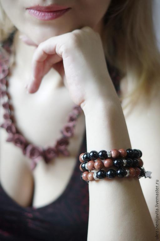 Браслеты ручной работы. Ярмарка Мастеров - ручная работа. Купить Набор браслетов из черного агата и авантюрина. Handmade. Разноцветный