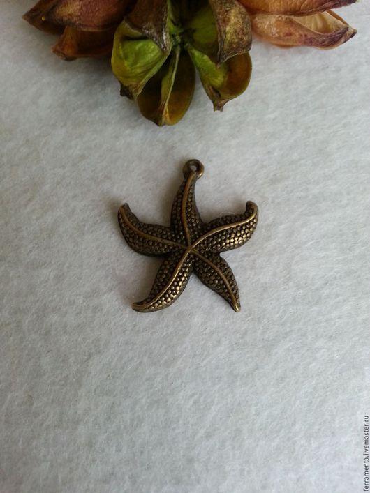 """Для украшений ручной работы. Ярмарка Мастеров - ручная работа. Купить Подвеска """"Морская звезда"""" бронза. Handmade. Хаки"""