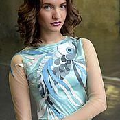 Одежда ручной работы. Ярмарка Мастеров - ручная работа Платье Жемчужина из шелка и кожи. Handmade.