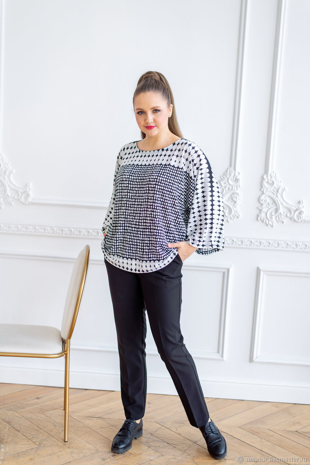 Knitted blouse made of viscose with polka dots, Blouses, Novosibirsk,  Фото №1