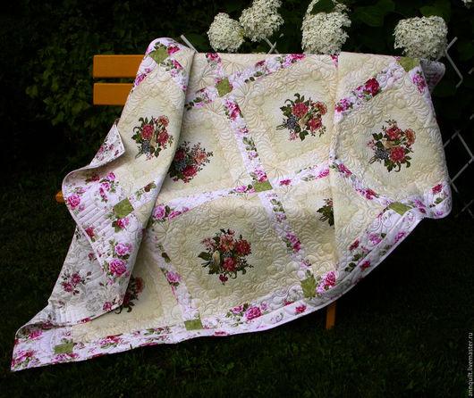 """Текстиль, ковры ручной работы. Ярмарка Мастеров - ручная работа. Купить Покрывало """"Цветов много не бывает"""". Handmade. Текстильный дизайн"""