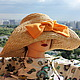 Шляпы ручной работы. Рыжик. Шляпа для лета.. Саша Толчеева. Ярмарка Мастеров. Соломенная шляпа, женская шляпа, шляпа для отпуска