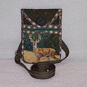 Сумки и аксессуары handmade. Livemaster - original item Handbag for phone Deer phone case with pocket, Green. Handmade.
