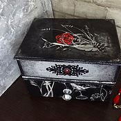 """Шкатулки ручной работы. Ярмарка Мастеров - ручная работа Мини комодик """" Алая роза на черном"""". Handmade."""