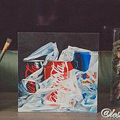 """Картины и панно ручной работы. Ярмарка Мастеров - ручная работа Картина маслом """"Вредные напитки"""". Handmade."""