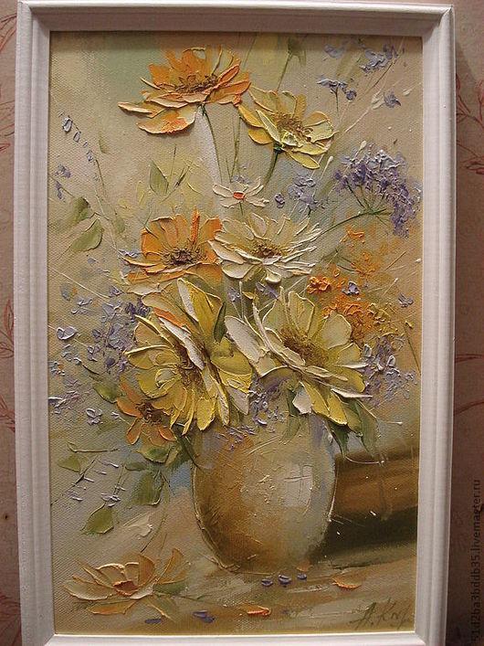 Картины цветов ручной работы. Ярмарка Мастеров - ручная работа. Купить Летний этюд. Handmade. Желтый, картина в подарок