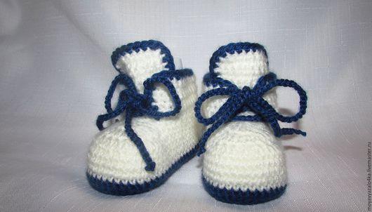 Для новорожденных, ручной работы. Ярмарка Мастеров - ручная работа. Купить Пинетки-ботиночки на мальчика. Handmade. Комбинированный, для малыша, на шнуровочке