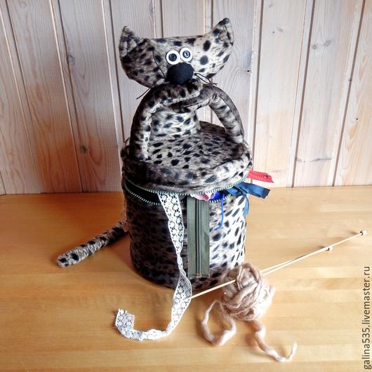 Корзины, коробы ручной работы. Ярмарка Мастеров - ручная работа. Купить Корзина для рукоделия. Кот леопардовый. Текстильный короб.. Handmade.