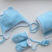 Работы для детей, ручной работы. Ярмарка Мастеров - ручная работа Шапка, шарф и рукавицы. Handmade.