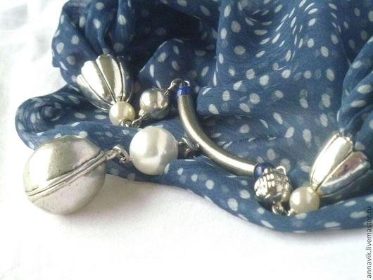 """Колье, бусы ручной работы. Ярмарка Мастеров - ручная работа. Купить Колье """"Светлана"""". Handmade. Синий, колье, текстильные бусы"""
