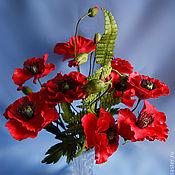 Цветы и флористика ручной работы. Ярмарка Мастеров - ручная работа Букет из 9 красных маков с папоротником. Handmade.