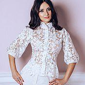 Одежда ручной работы. Ярмарка Мастеров - ручная работа Блуза кружевная белая цветочная. Handmade.