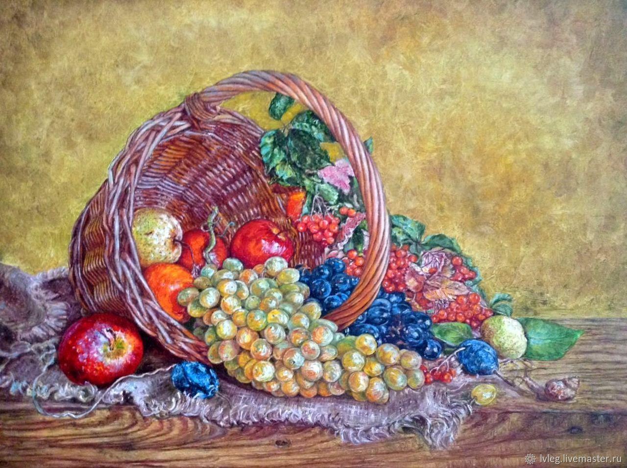 """Картина маслом """"Улитка и виноград"""". холст корзина фрукты, Pictures, Chelyabinsk,  Фото №1"""