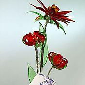 Цветы и флористика ручной работы. Ярмарка Мастеров - ручная работа Цветок из богемского стекла средний. Красный с бутонами.. Handmade.