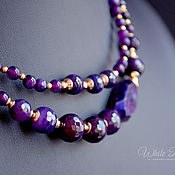 Украшения handmade. Livemaster - original item Multi-row necklace with agate drosou violet, gold