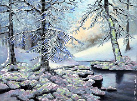 """Пейзаж ручной работы. Ярмарка Мастеров - ручная работа. Купить Картина из бисера """"Зимний лес"""" вышивка. Handmade. Картина в подарок"""