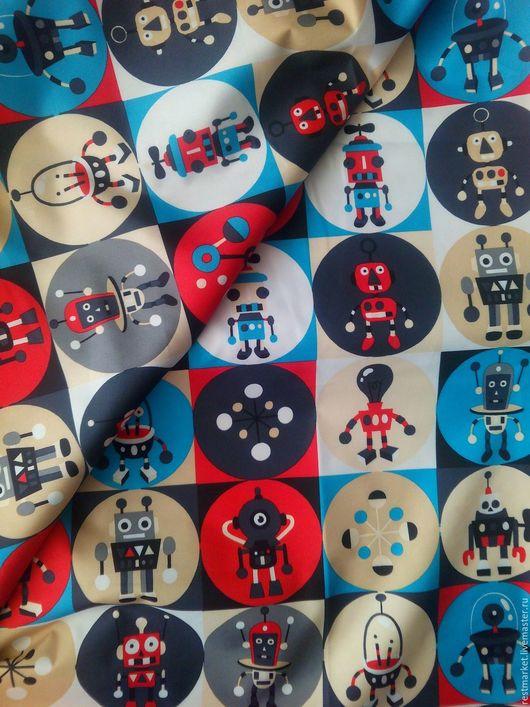 Шитье ручной работы. Ярмарка Мастеров - ручная работа. Купить Ткань курточная Дюспа Красные роботы 240Т. Handmade. Комбинированный