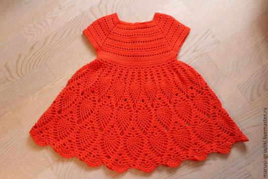 """Одежда для девочек, ручной работы. Ярмарка Мастеров - ручная работа. Купить Платье летнее для девочки крючком узор """"ананас"""". Handmade."""