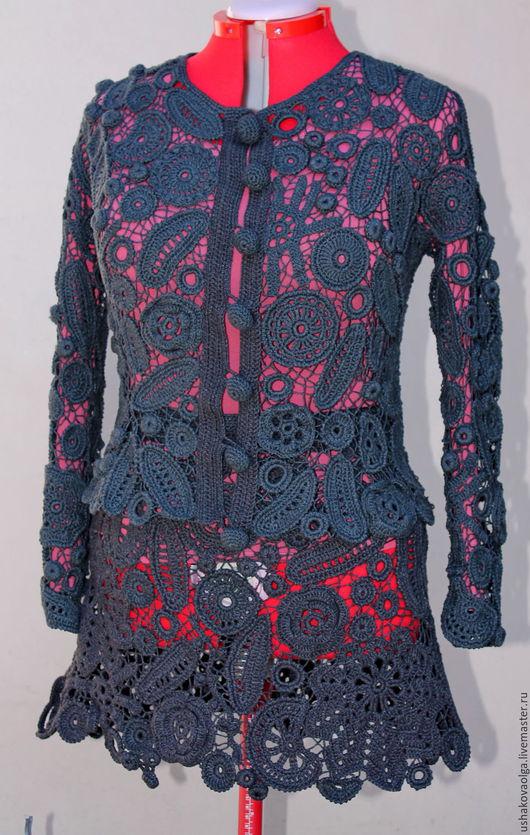 """Костюмы ручной работы. Ярмарка Мастеров - ручная работа. Купить Костюм """"Графитовый""""(жакет + юбка). Handmade. Темно-серый"""