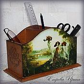 """Канцелярские товары handmade. Livemaster - original item Карандашница,подставка для пультов""""Борзые"""". Handmade."""
