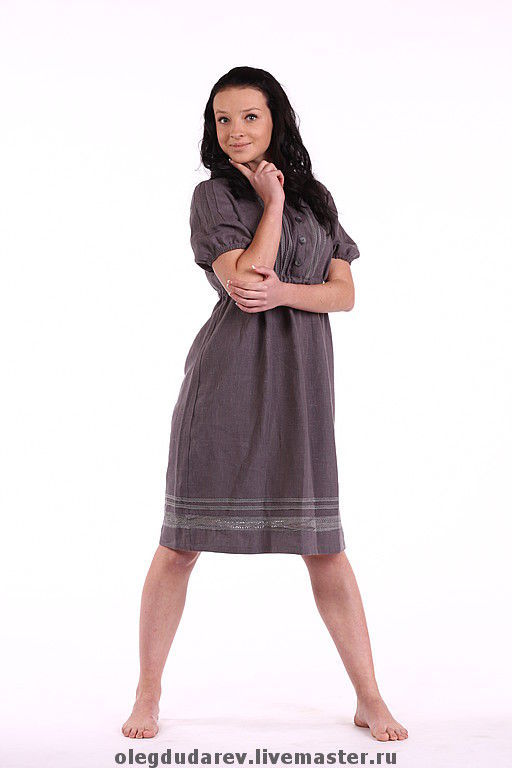 Платья ручной работы. Ярмарка Мастеров - ручная работа. Купить платье льняное серое. Handmade. Летнее платье, купить платье