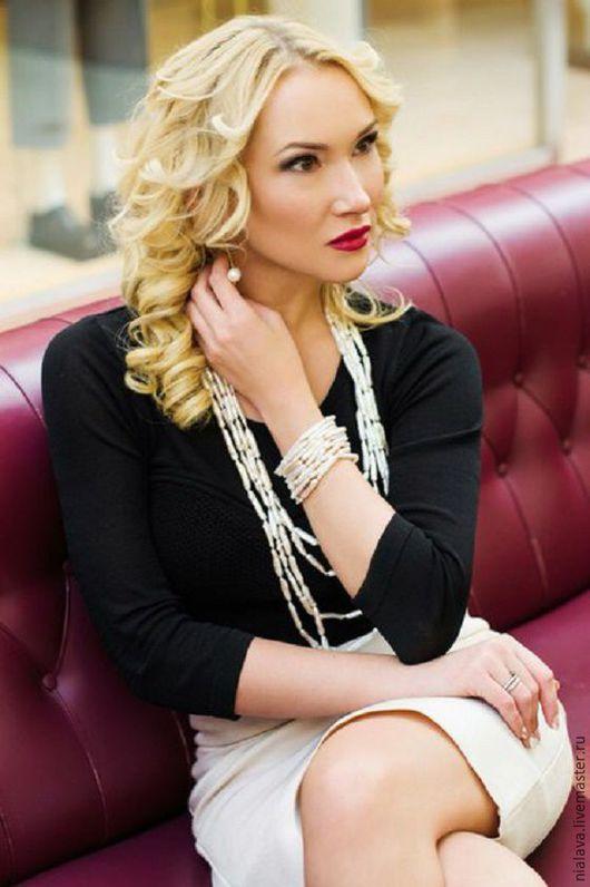 Красивые модные стильные эксклюзивные нарядные украшения ручной работы из натурального жемчуга Барокко купить заказать в Москве жемчужные бусы серьги и браслет